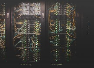 server room with network cables
